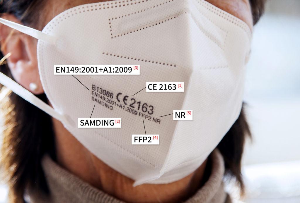 CE-FFP2-Maskenbeschreibung mit Erklärung