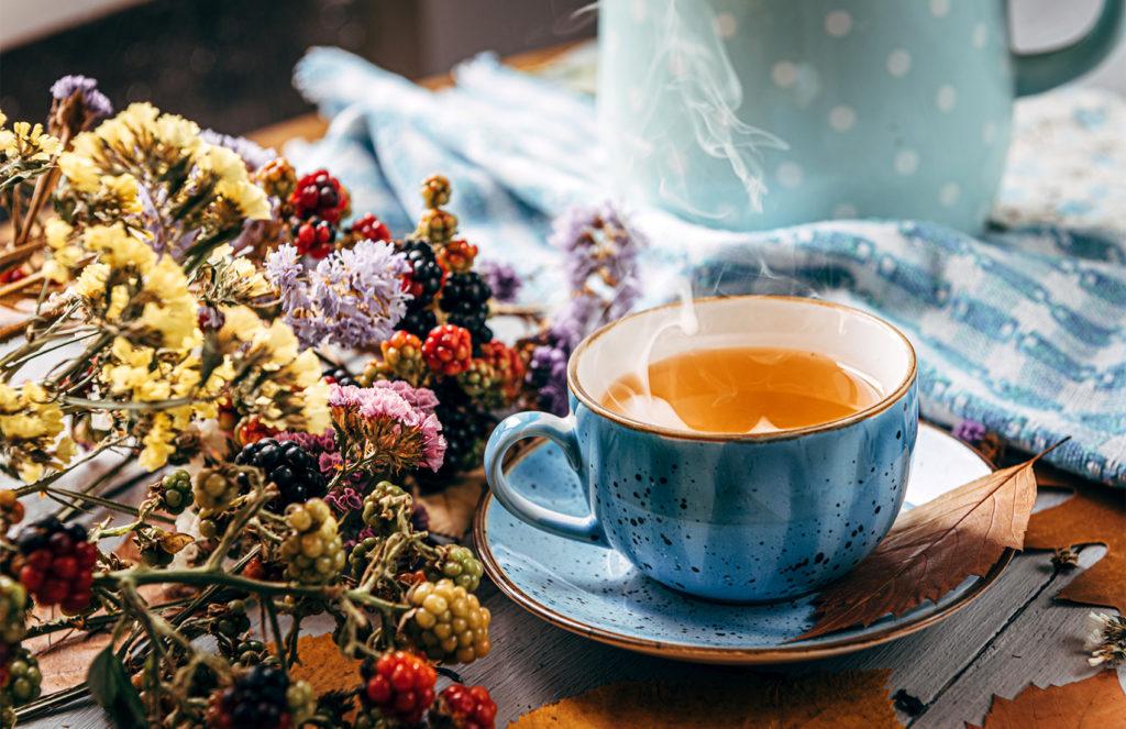 Teetasse mit Trockenblumen